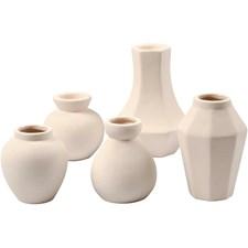 Vaser og lysestaker, H: 7+10+12 cm, hullstr. 2,45 cm, 5 stk., hvit
