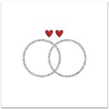 Bryllupskort, ringer, 12,5x12,5cm