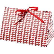 Eske, str. 15x7x8 cm,  250 g, hvit, rød, harlekin mønster, 3stk.