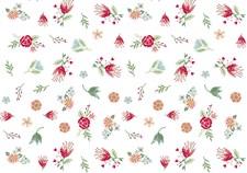 Bomullstyg Blommor Vit/Multi 50x140cm