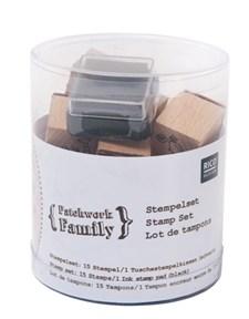 Stempelsett Patchwork Family 15 stempler. A 2,8/ 2/ 2 cm
