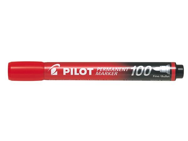 Permanent Marker 100 rødt Fine