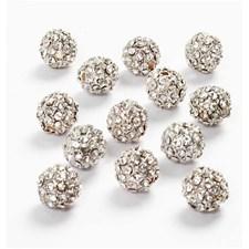 Pärlor med Strass dia 10 mm Silverpläterad 3 st