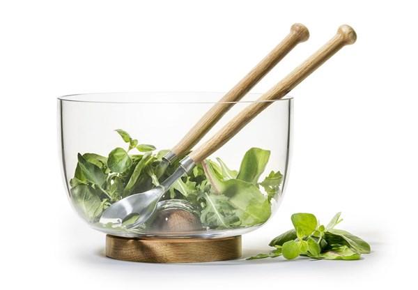 Salatbolle med bestikk, Oval Oak, Sagaform