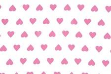 Bomullstyg Hjärta 50x160 cm Vit/Cerise