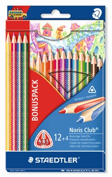 Noris Club® 16-pack trekantiga träfärgpennor, 12 + 4 pack