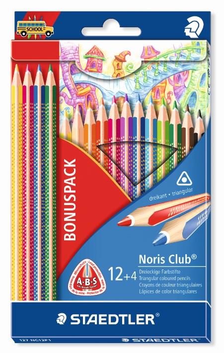 Noris Club® 16-pk trekantet trefargeblyanter. Kjøp 16 betal for 12. BONUSPAKKE
