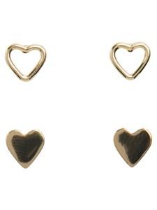 Örhängen, Hjärtan, 2-set, Guldfärgade