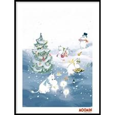 Muumit Juliste Joulupuuhaa kuusen ympärillä 30x40 cm