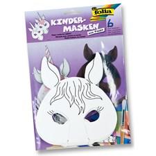 Barnemasker for fargelegging, 6 masker per pakke, Hest/Enhjørning