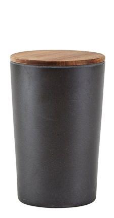 Villa Collection Förvaringsburk med Lock D: 12 cm 1.3 L Bambu/Akaciaträ Svart