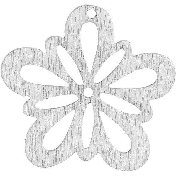 Blomst, dia. 27 mm, tykkelse 1,7 mm, 20 stk., råhvit
