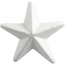 Stjerne, B: 11 cm, hvit, isopor, 5stk.