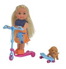 Evi med scooter och hundvalp, Blå, Evi Love