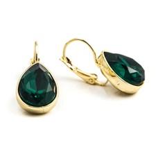 Glam teardrop Örhängen, Emerald gold