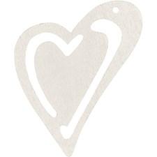 Skjevt hjerte, str. 55x45 mm, tykkelse 2 mm, 10 stk., råhvit
