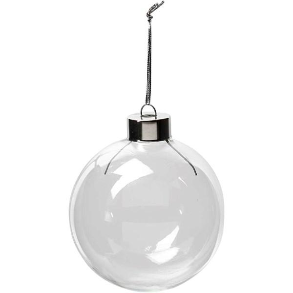 Glasskule, dia. 7,9 cm, H: 8,9 cm, 6 stk., transparent