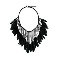 Halsband Drama Feather Necklace Black
