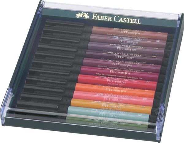 Soft Brush Pen Pitt Artist Faber-Castell Gave-etui 12 St Jordfarger