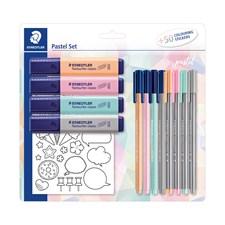Skrivesett Pastell Penner Markeringspenner + Stickers Staedtler