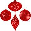 Sykartong, metallic rød, H: 8,5-12 cm, hullstr. 3 mm, 280 g, 4x2 stk./ 1 pk.