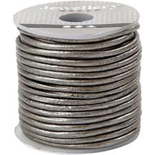 Lädersnöre 2 mm x 10 m Metallicgrå