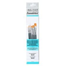 Pensle syntetisk pensel for akvarell og akryl med følgende typer og størrelser 3,5,6 flat, rund 2,3, 5 kort håndtak
