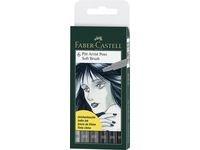 Soft Brush Pen Pitt Artist Faber-Castell Etui 6 st Gråtoner