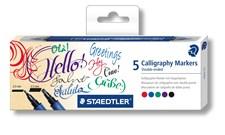 Kalligrafikynät kaksikärkinen Staedtler 5 kpl