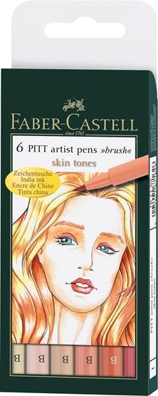Soft Brush Pen Pitt Artist Faber-Castell 6-pack Hudfärger