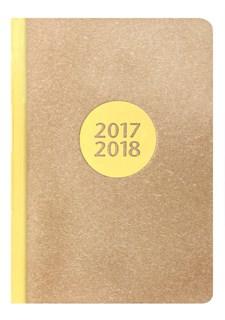 Kalender 2017-2018 Letts Letterpress A5 V/U gul