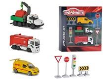 Trafikset storstad, fordon och vägskyltar