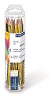 Noris® set, 12-pack pennor HB + suddgummi