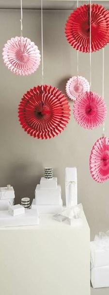 Dekorationsrundlar, Rico, Papper, 40/30/25 cm, Rosa och Röda, 3 st.