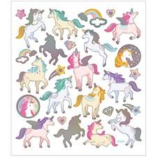Stickers, ark 15x16,5 cm, ca. 27 stk., enhjørning, 1ark