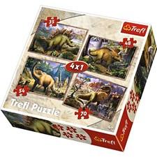 4-i-1 puslespill, Dinosaurer, Trefl