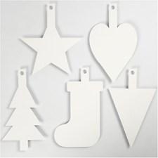 Kartonkikuviot joulu, kork. 23,5-26,5 cm, lev. 15,5-20,5 cm, valkoinen, 15kpl, 400 g