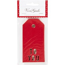 Pakettietiketit, koko 5x10 cm,  300 g, punainen, TO YOU, 15kpl