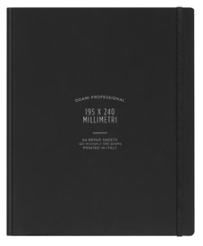 Muistikirja, paperi valmistettu kivestä. Kovakantinen. Iso. Musta. Tyhjät sivut.