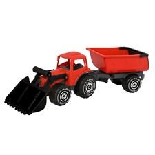 Traktor med frontlaster og henger, lengde 56 cm. Farge rød - svart.