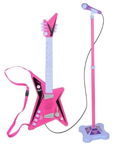 Gitarr & Mikrofon med stativ, Rosa/Grå, Supersonic