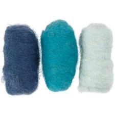 Kardet ull, 3x10 g, blå harmoni