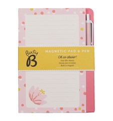 Magnetisk shoppinglista med penna, 12 x 16,5 cm, Pink