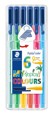 Triplus® color 6-pack, i STAEDTLER-box, 1 mm fiberspets. Tropical