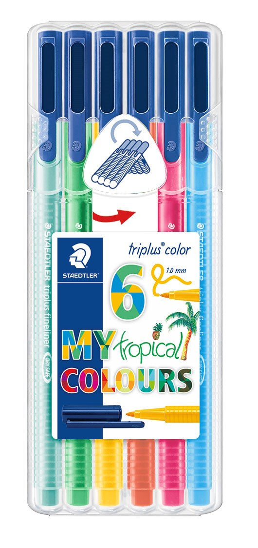 Triplus® color 6 kpl, STAEDTLER-paketissa, 1 mm kuituterä. Tropical