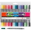 Colortime dobbelt tusj, strektykkelse: 2,3+3,6 mm, suppl. Farger, 20stk.