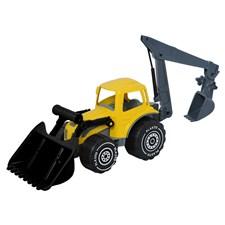 Traktor med frontlaster og gravemaskin, lengde 70 cm. Farge gul - svart.