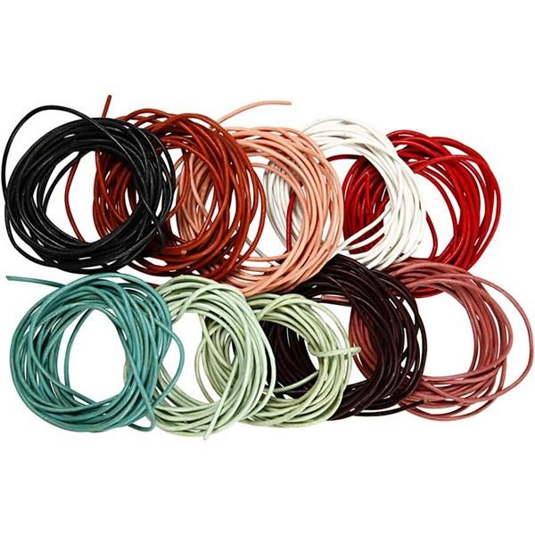 Lädersnöre 2 mm x 3 m 10 Färger (mixade färger) - lädersnöre