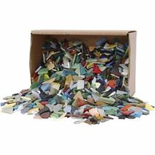 Mosaikk, str. 8-20 mm, tykkelse 2-3 mm, ass. Farger, 2kg