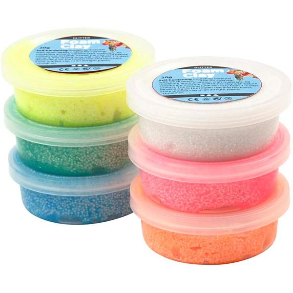 Foam Clay®, ass. farger, glitter, 6x14g